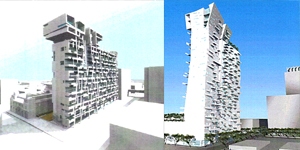 Two residential towers designed by Thom Mayne.